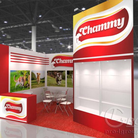 Пример нестандартного выставочного стенда Chammy