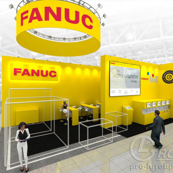 Пример нестандартного выставочного стенда Fanuc
