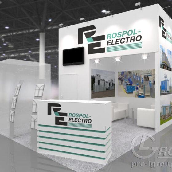 Пример нестандартного выставочного стенда Rospol-electro